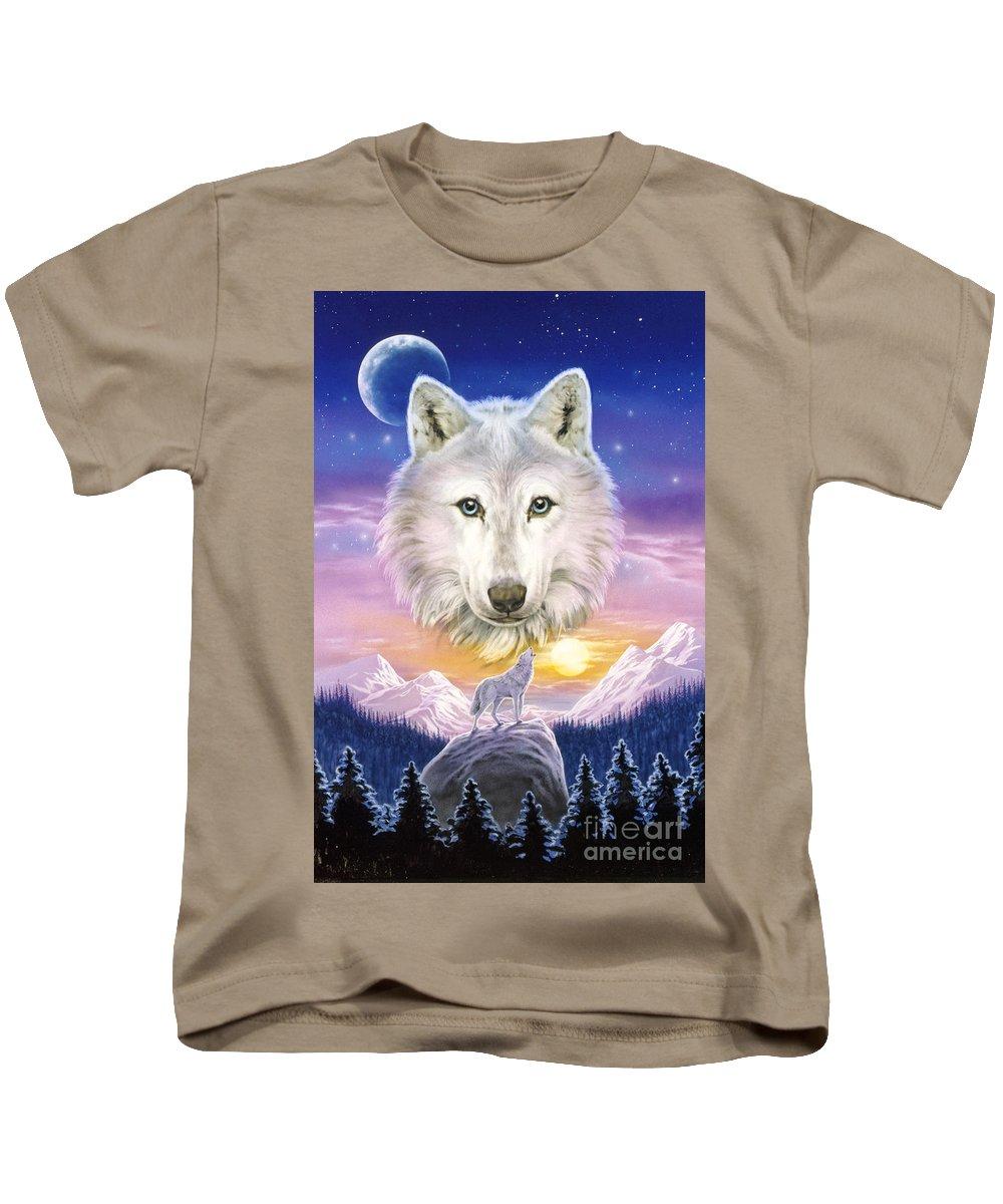 Wolf Kids T-Shirt featuring the digital art Mountain Wolf by Robin Koni