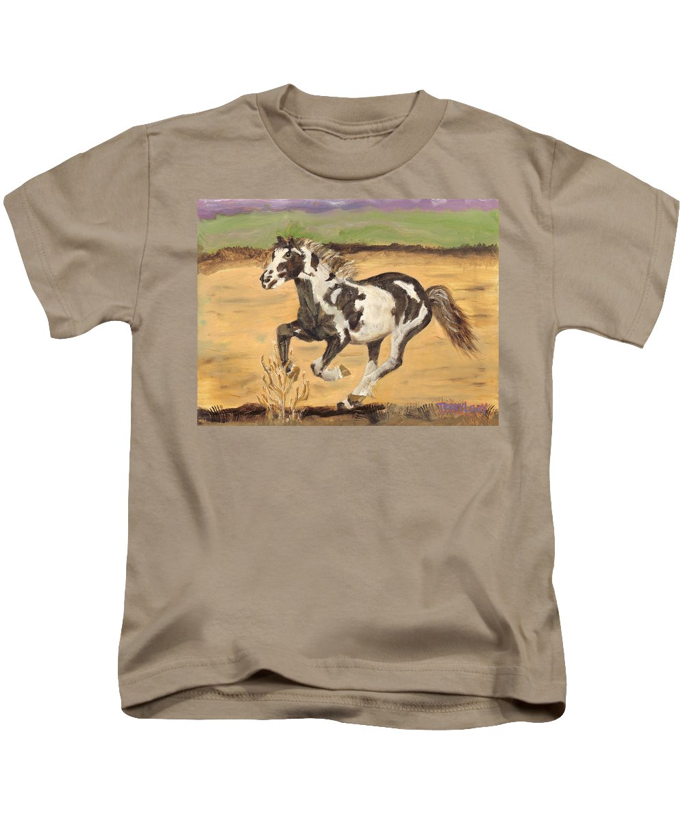 Horse Kids T-Shirt featuring the painting Mustang by Terry Lewey
