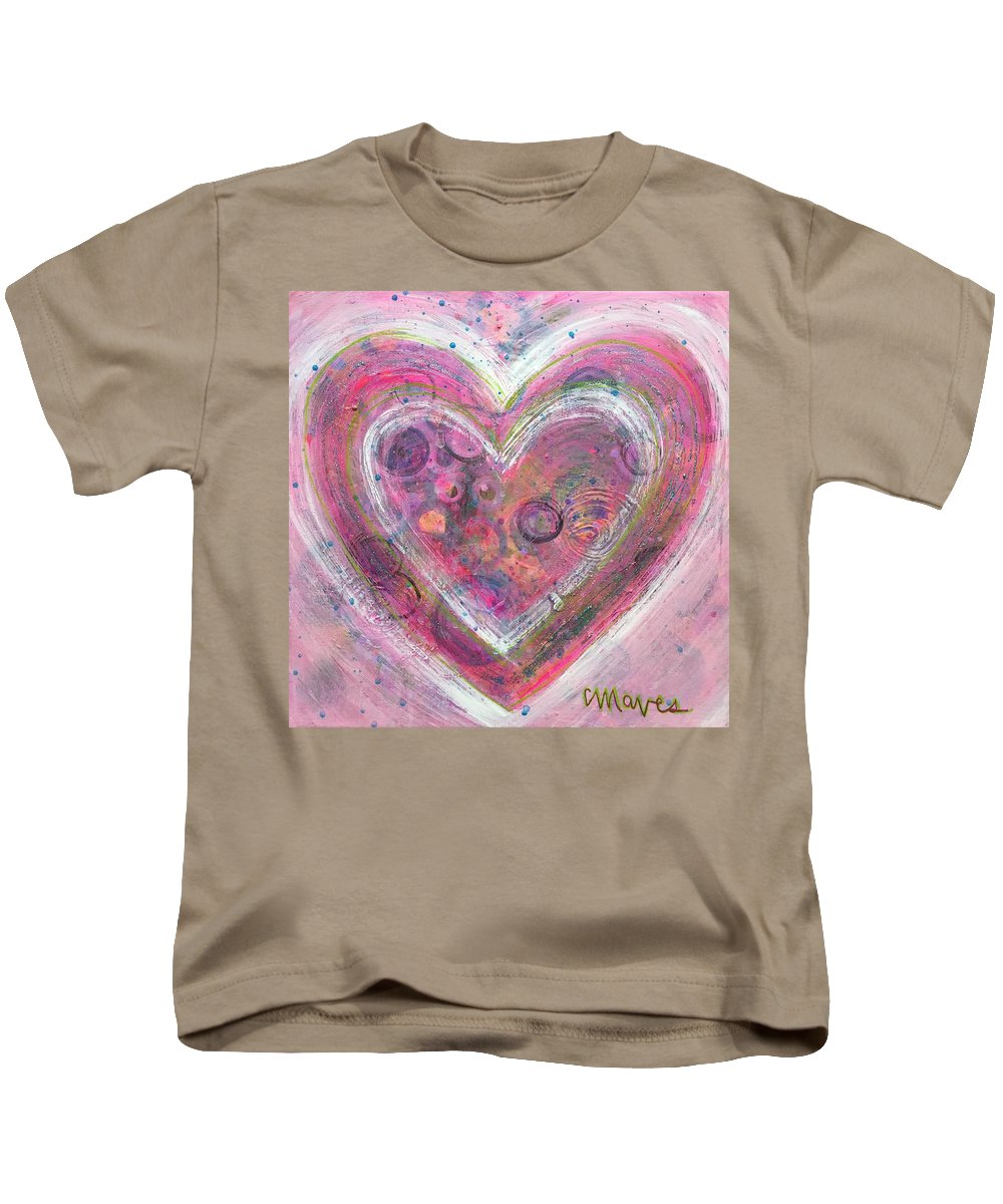Heart Kids T-Shirt featuring the painting My Glittering Heart by Laurie Maves ART