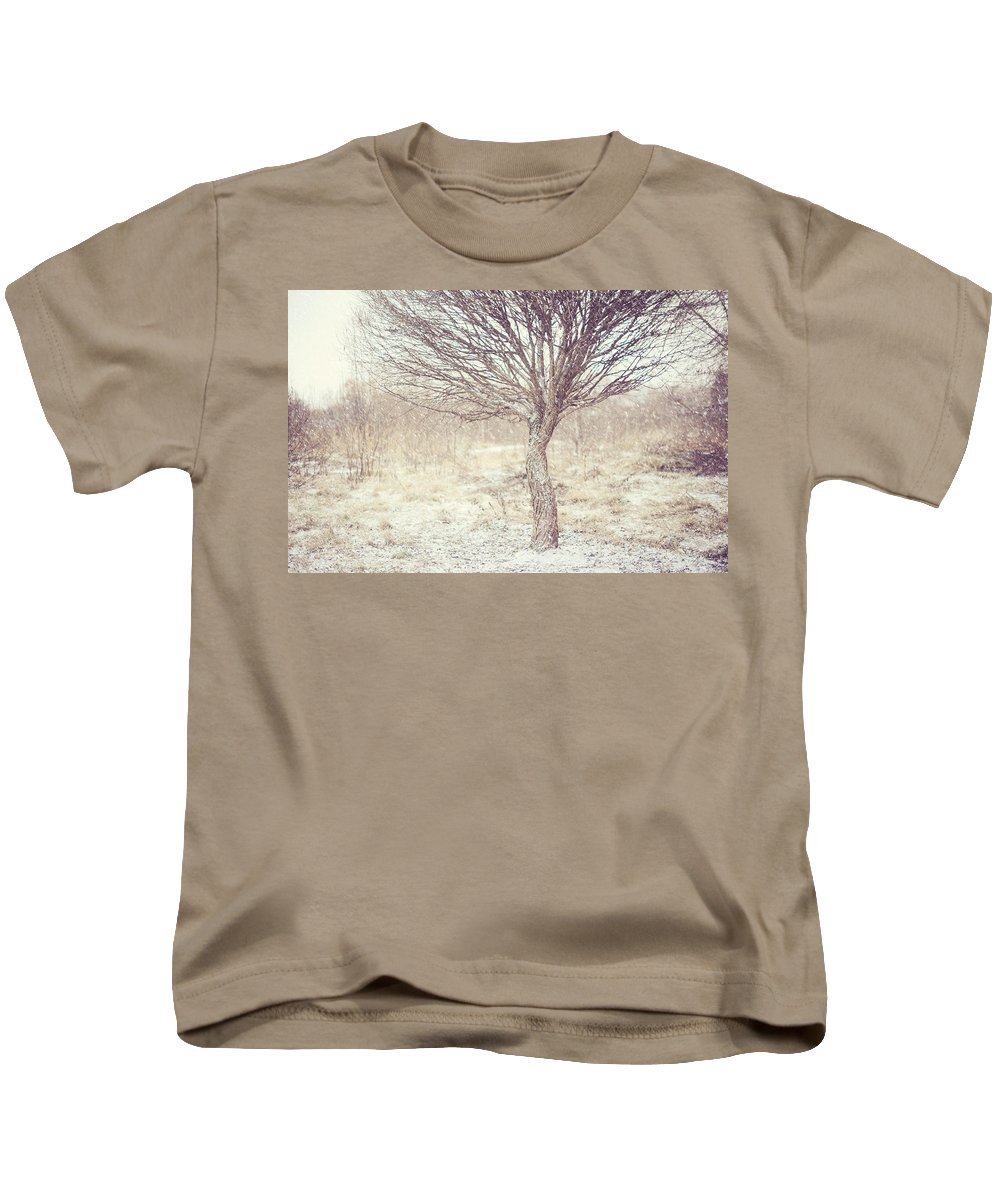 Winter Kids T-Shirt featuring the photograph Naked Willow Tree. Winter Poems by Jenny Rainbow