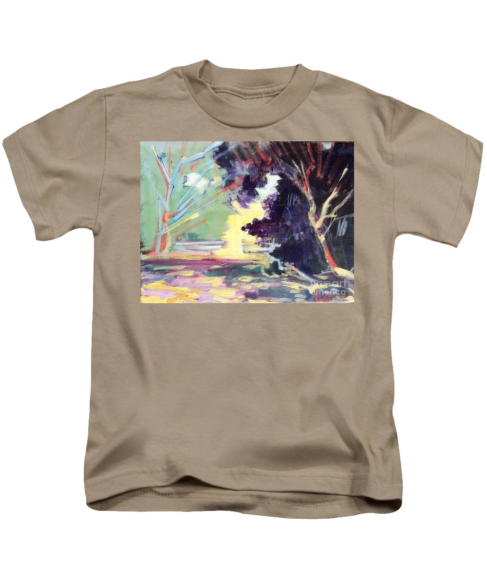 Napa Valley Forest Fall Depicts A Typical Day Nearly Every Day Of The Kids T-Shirt featuring the painting Napa Valley Forest Fall by Rebecca Lou Mudd