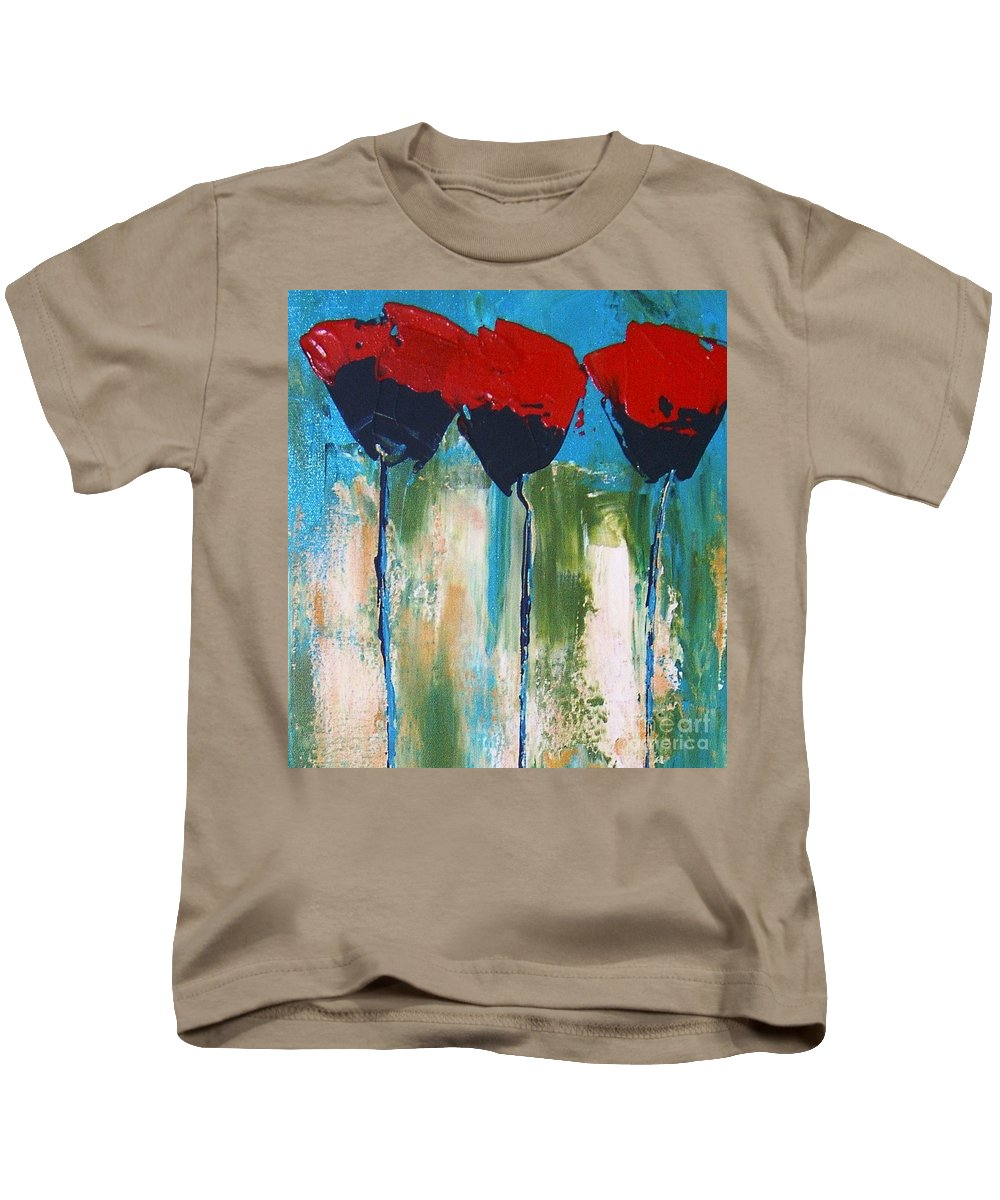 A Little Abstract Knife Painting To Depict A Napa Valley Red Poppy. Kids T-Shirt featuring the painting Napa Valley Red Poppys by Rebecca Lou Mudd