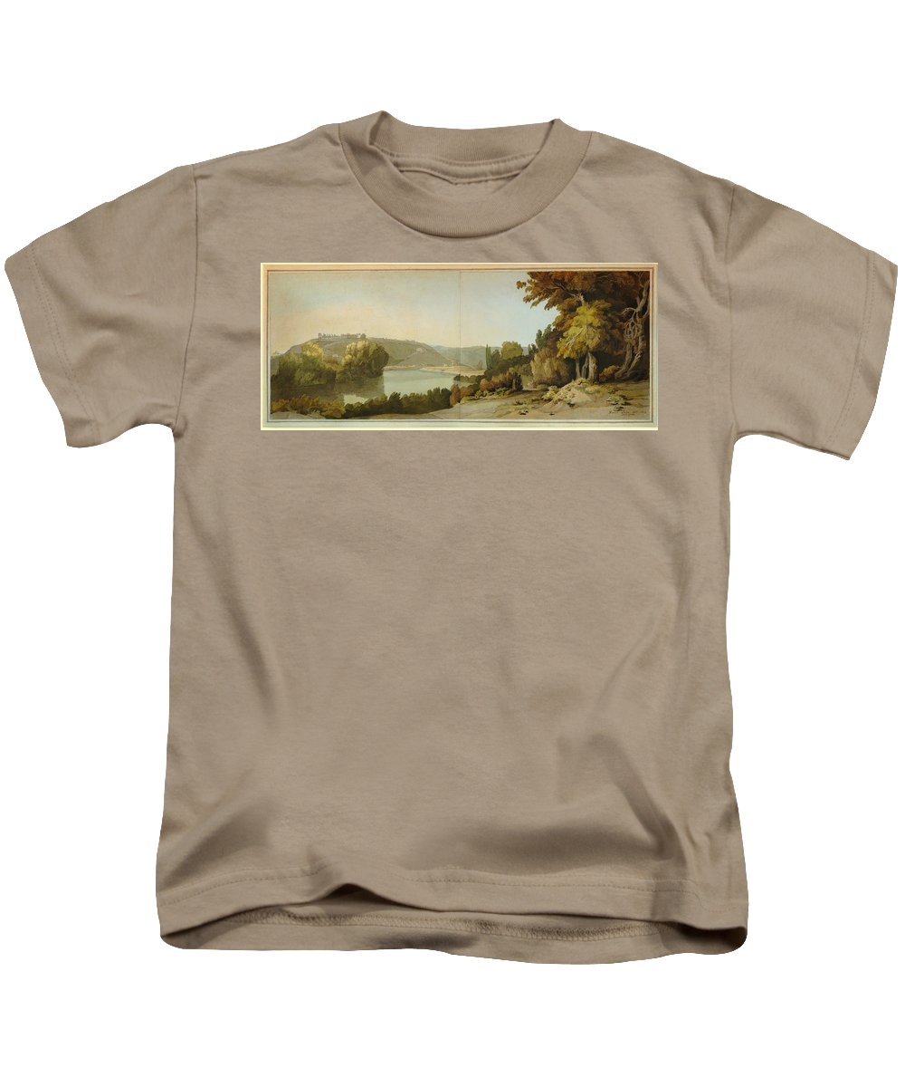 Francis Towne - Veduta Del Tevere Kids T-Shirt featuring the painting Veduta Del Tevere  by Celestial Images