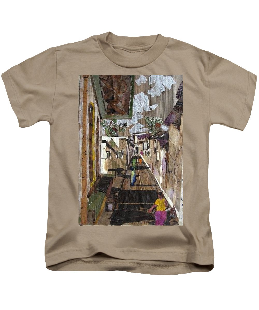 Street Scene Kids T-Shirt featuring the mixed media Narrow Street by Basant Soni