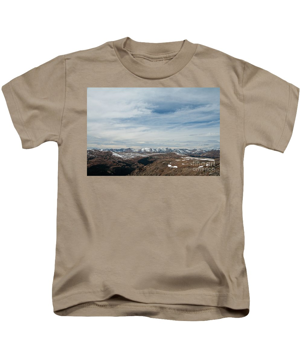 Autumn Kids T-Shirt featuring the photograph Never Summer Mountains From Rock Cut In Moraine Park Rocky Mountain National Park by Fred Stearns