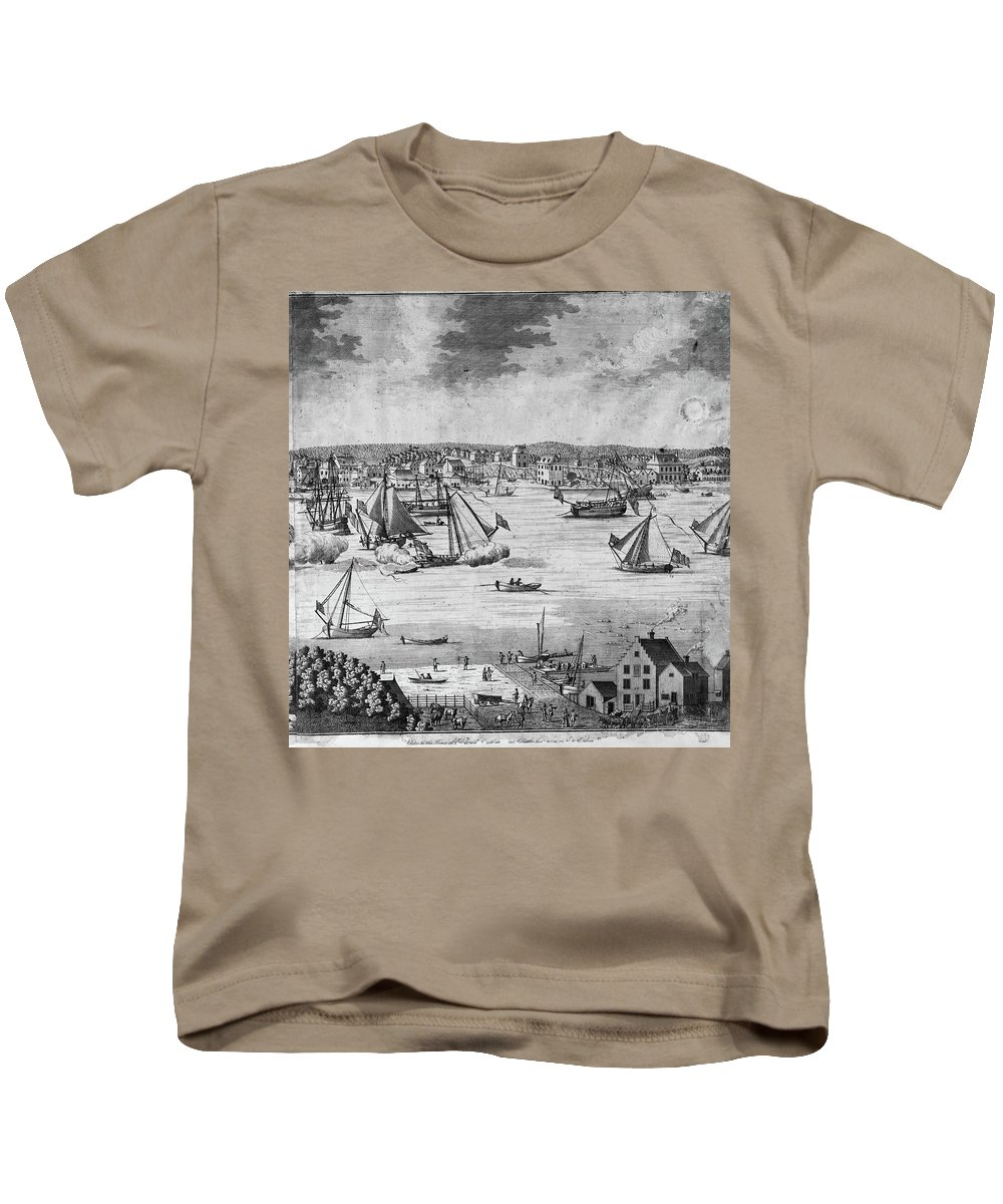1717 Kids T-Shirt featuring the painting New York City, 1717 by Granger
