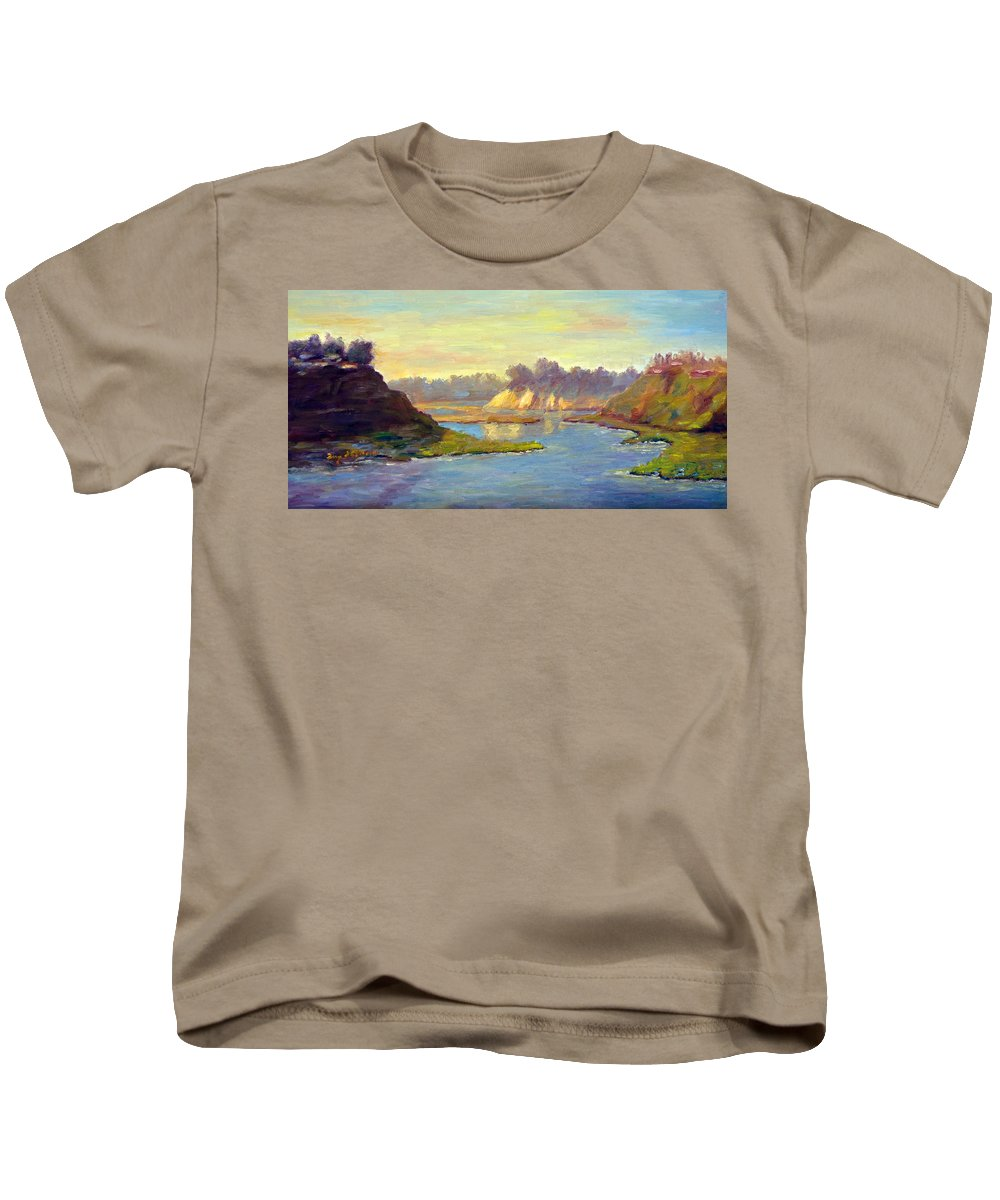 Landscape Kids T-Shirt featuring the painting Newport Back Bay In Light by Terry Chacon