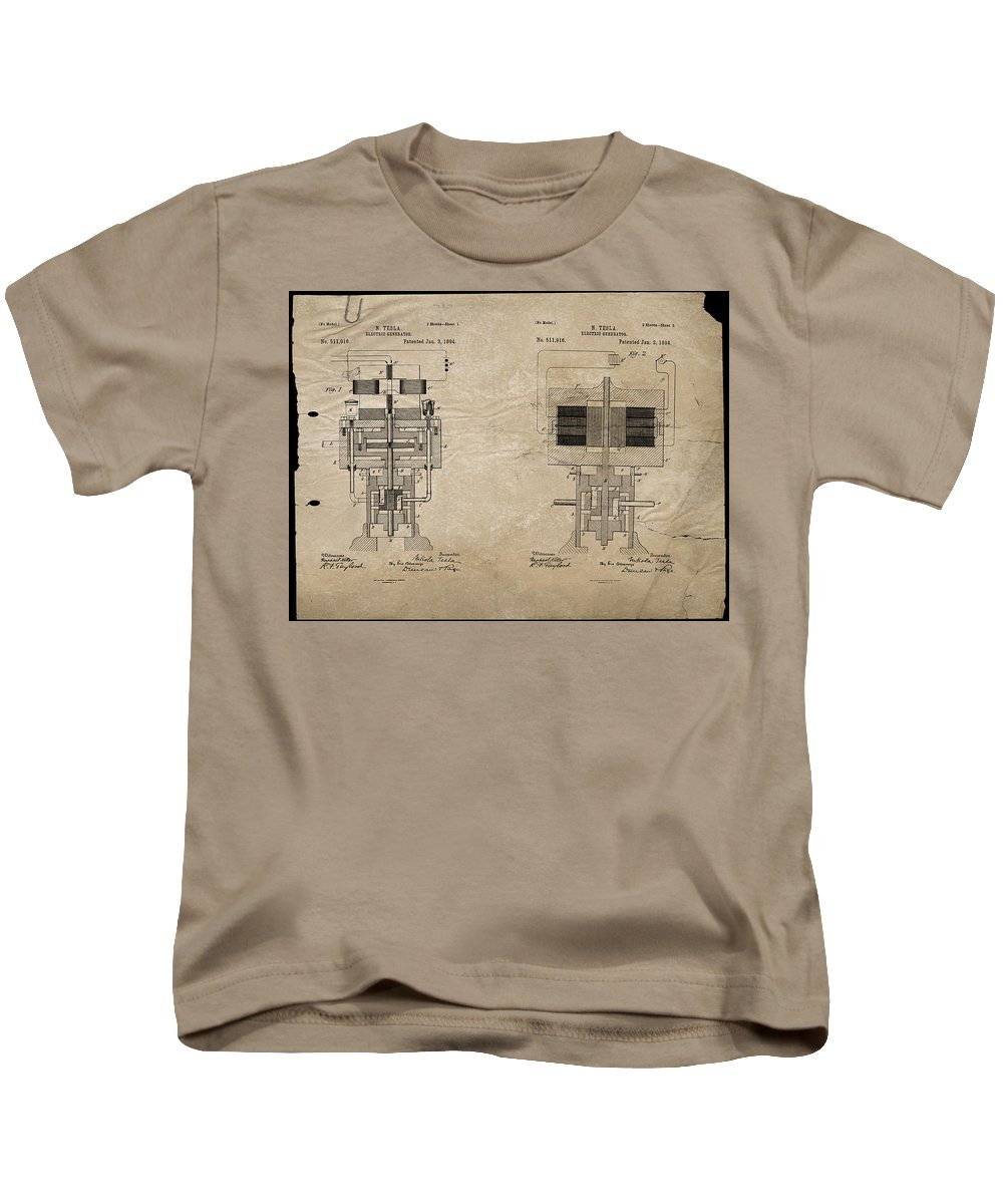 Wright Kids T-Shirt featuring the digital art Nikola Tesla's Electrical Generator Patent 1894 by Paulette B Wright