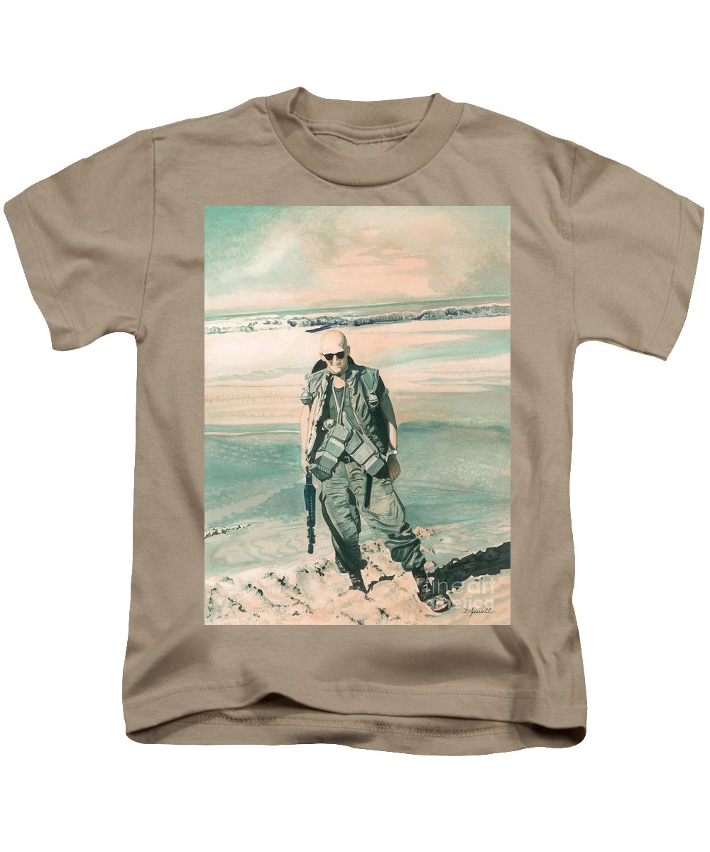 Soldier Kids T-Shirt featuring the painting No Day At The Beach by Barbara Jewell