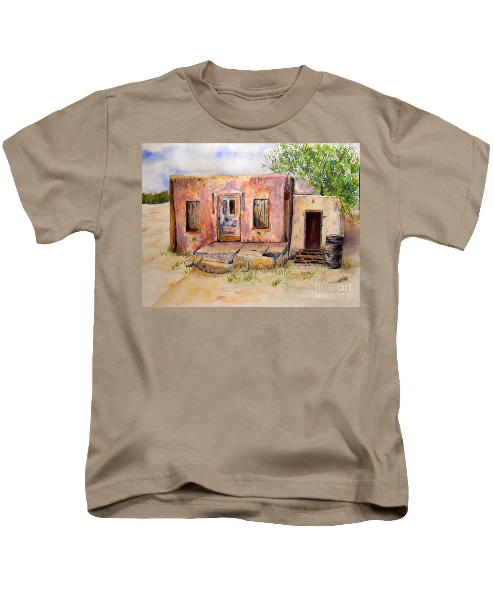 Home Kids T-Shirt featuring the painting Old House In Clovis Nm by Vicki Housel