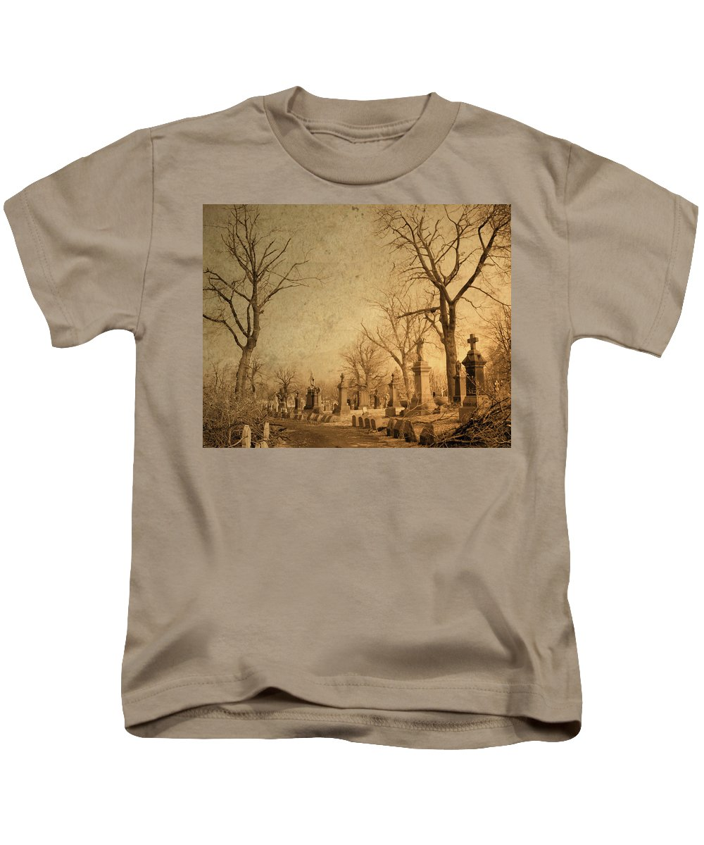 Old Graveyard Kids T-Shirt featuring the photograph Old World Vision by Gothicrow Images