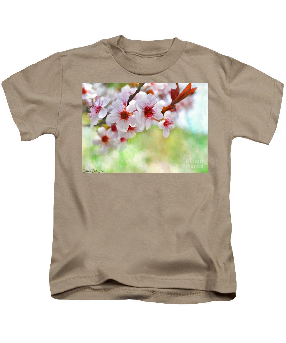 Nature Kids T-Shirt featuring the photograph Ornamental Plum - Digital Paint by Debbie Portwood