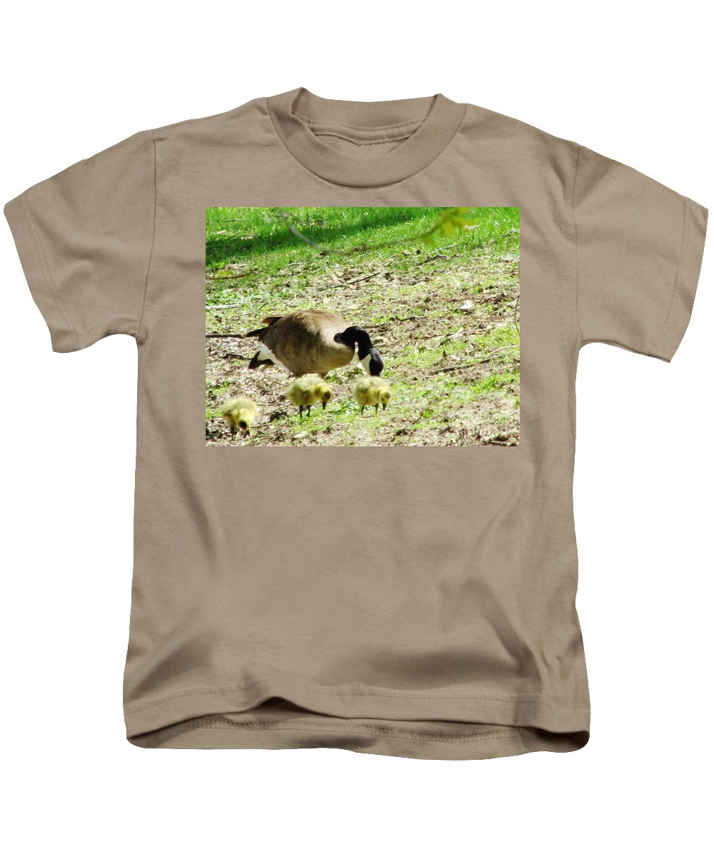 Geese Kids T-Shirt featuring the photograph Out For A Bite by Don Baker