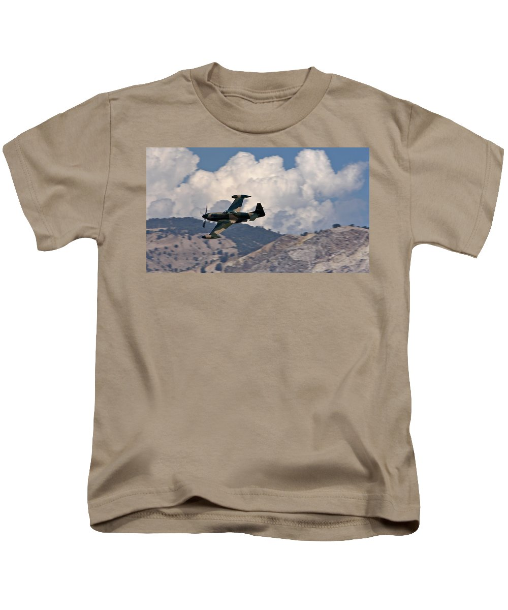 Aviation Kids T-Shirt featuring the photograph P-51 Patrol by Chance Chenoweth