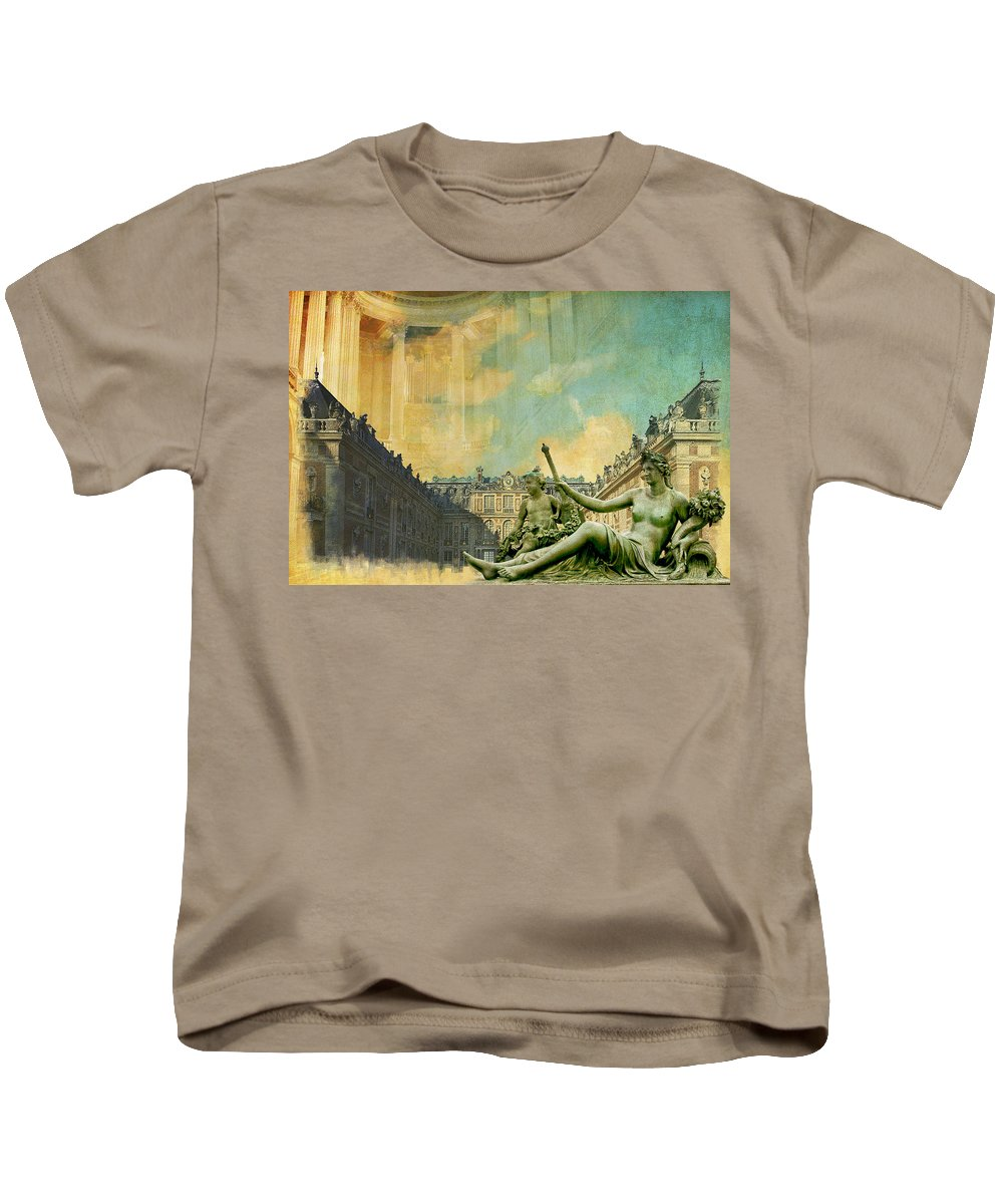 Western Ghats Kids T-Shirt featuring the painting Palace And Park Of Versailles Unesco World Heritage Site by Catf