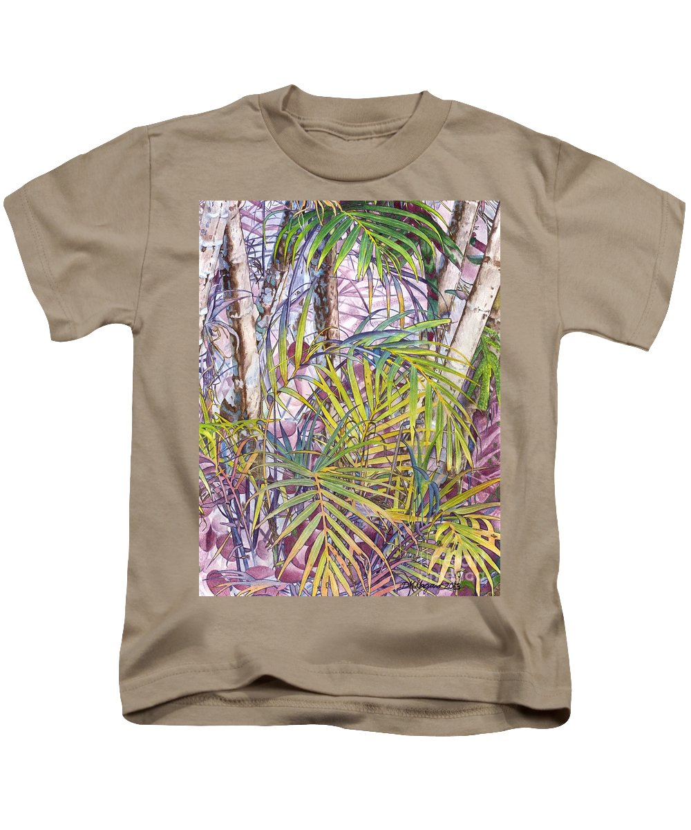 Hawaii Kids T-Shirt featuring the painting Palm Grove by DK Nagano