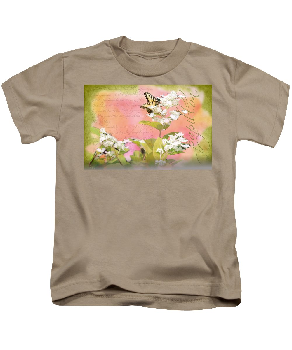 Wright Kids T-Shirt featuring the photograph Papillon by Paulette B Wright