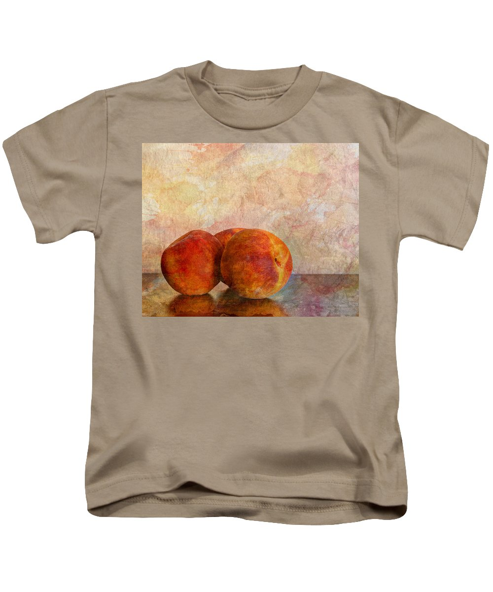 Agriculture Kids T-Shirt featuring the photograph Peach Trio by Heidi Smith
