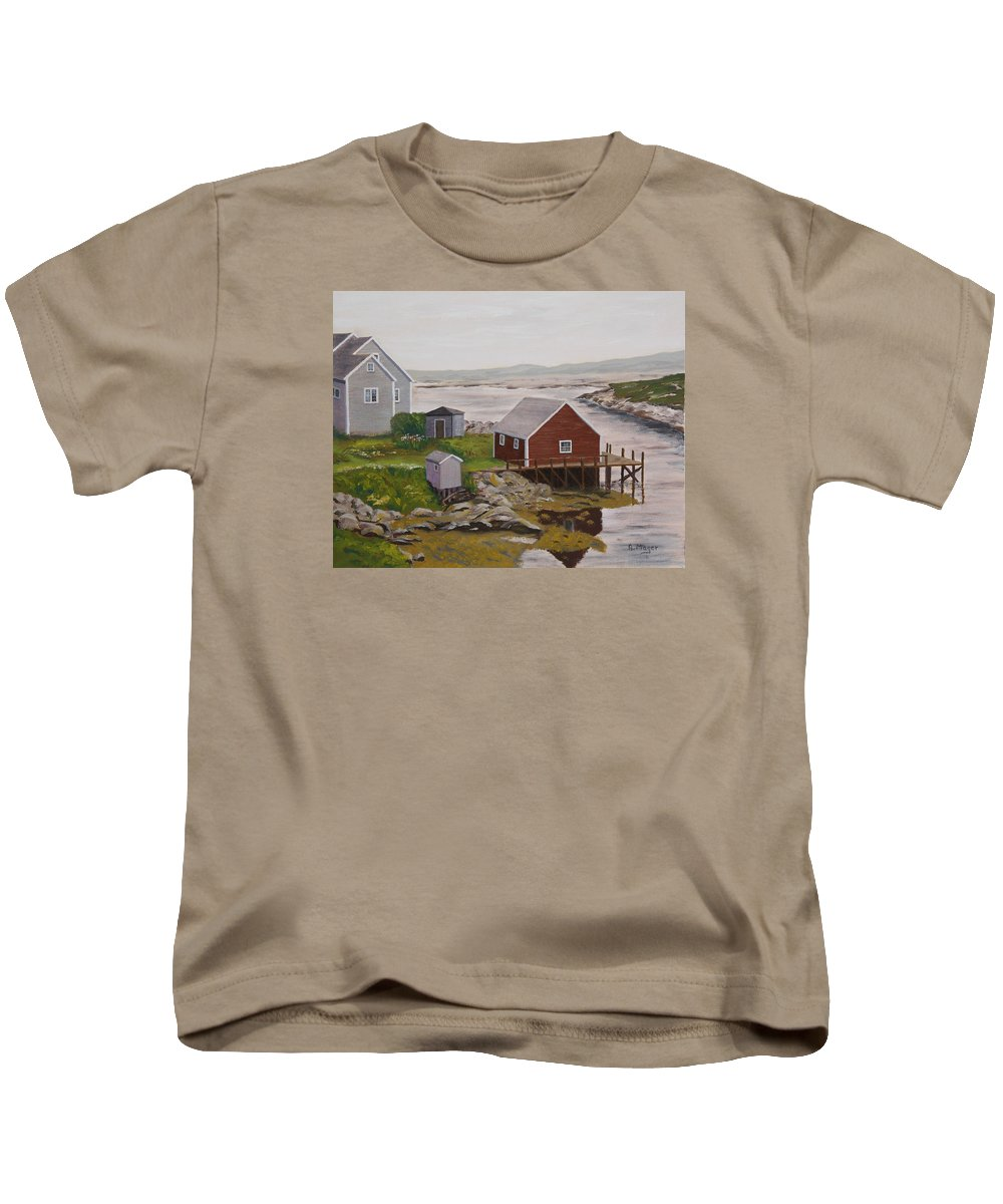 Painting Kids T-Shirt featuring the painting Peggy's Cove by Alan Mager
