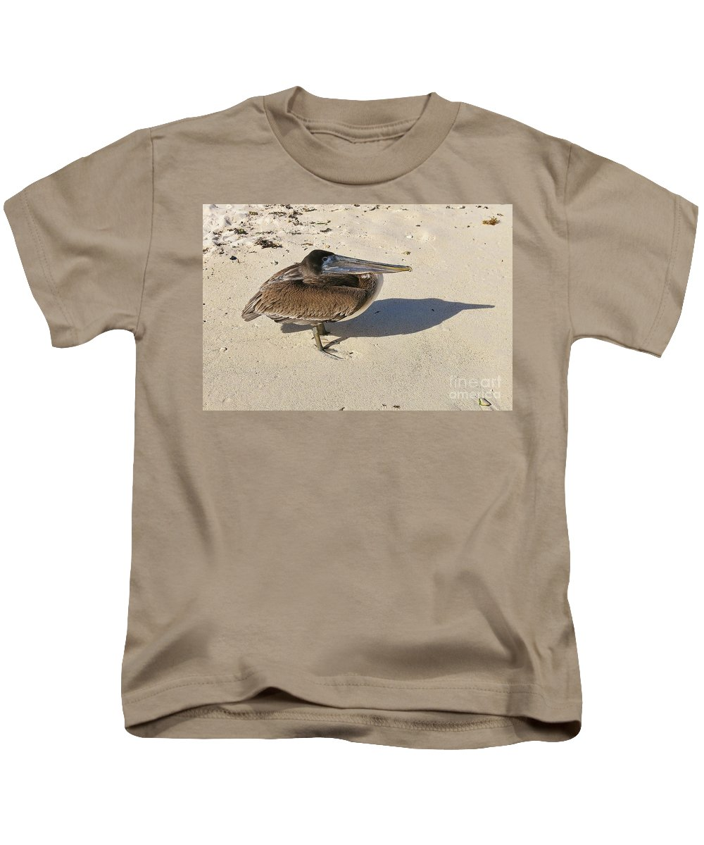 Bird Kids T-Shirt featuring the photograph Pelican And His Shadow by Teresa Zieba