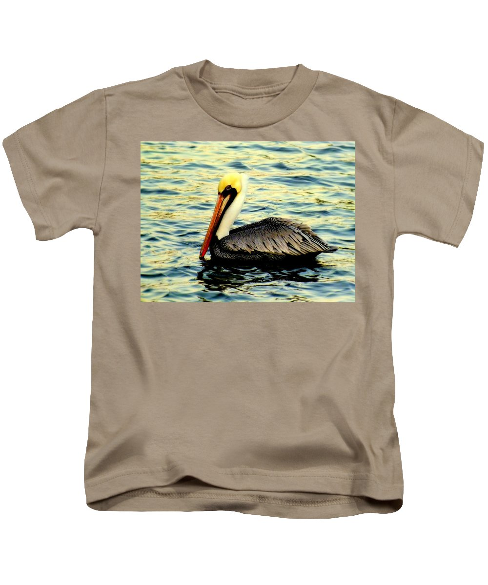 Pelicans Kids T-Shirt featuring the photograph Pelican Waters by Karen Wiles