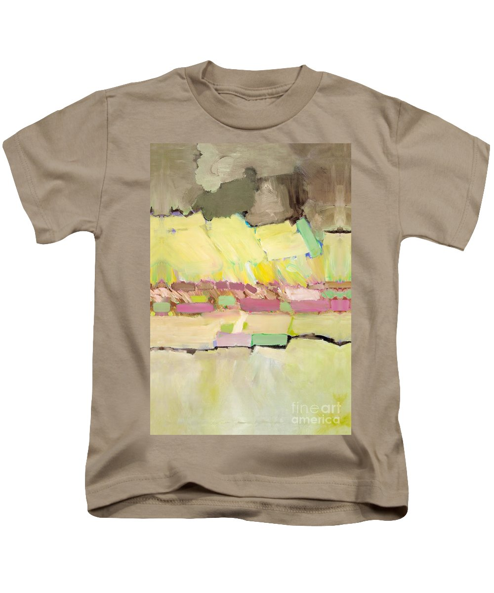 Landscape Kids T-Shirt featuring the painting Pink And Yellow by Allan P Friedlander