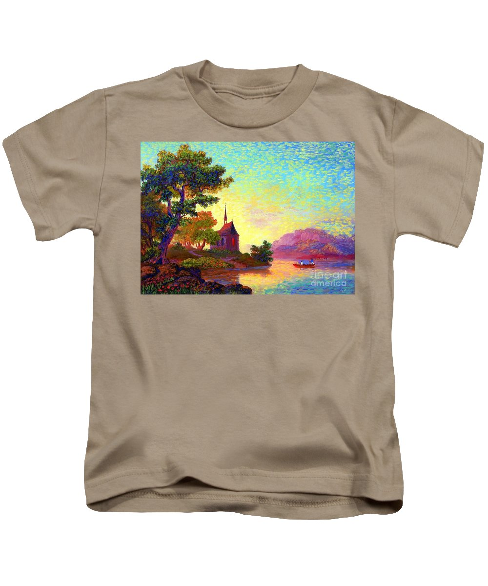Church Kids T-Shirt featuring the painting Beautiful Church, Place Of Welcome by Jane Small