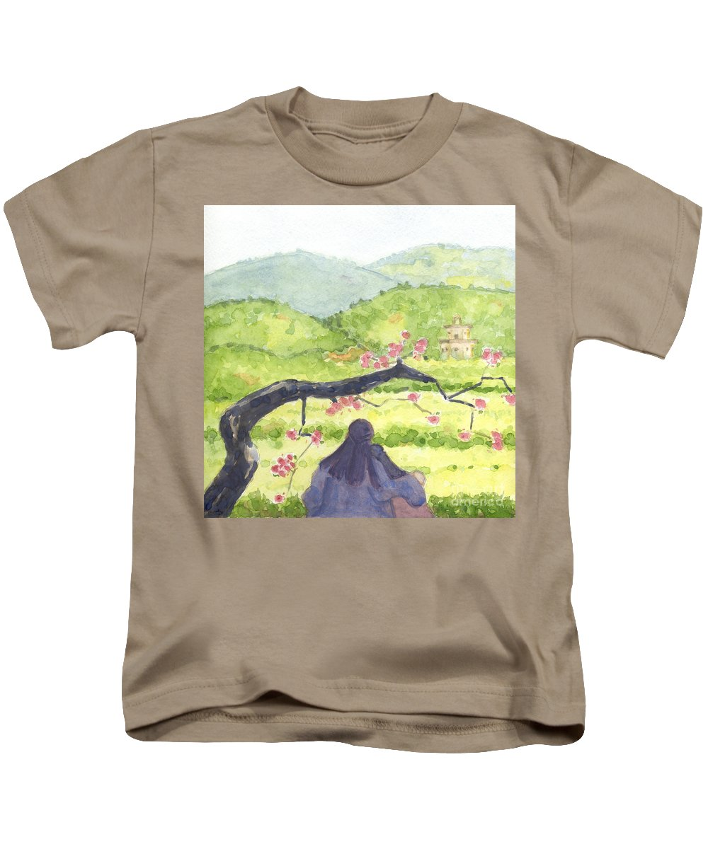 Plumb Kids T-Shirt featuring the painting Plumb Blossom Love by Lilibeth Andre