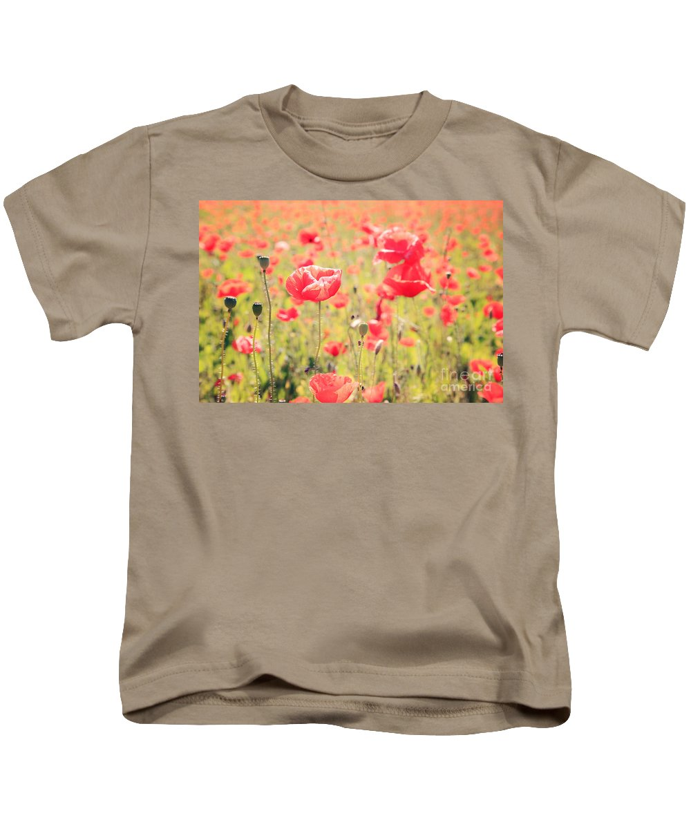 Vintage Kids T-Shirt featuring the photograph Poppies In Tuscany - Italy by Matteo Colombo