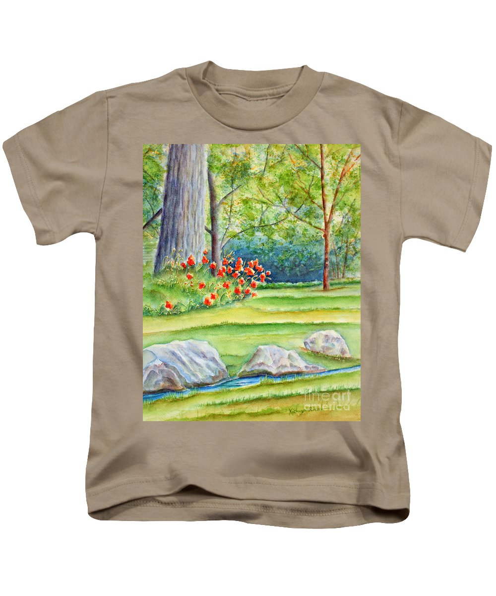 Landscape Kids T-Shirt featuring the painting Poppy Garden by Kathryn Duncan