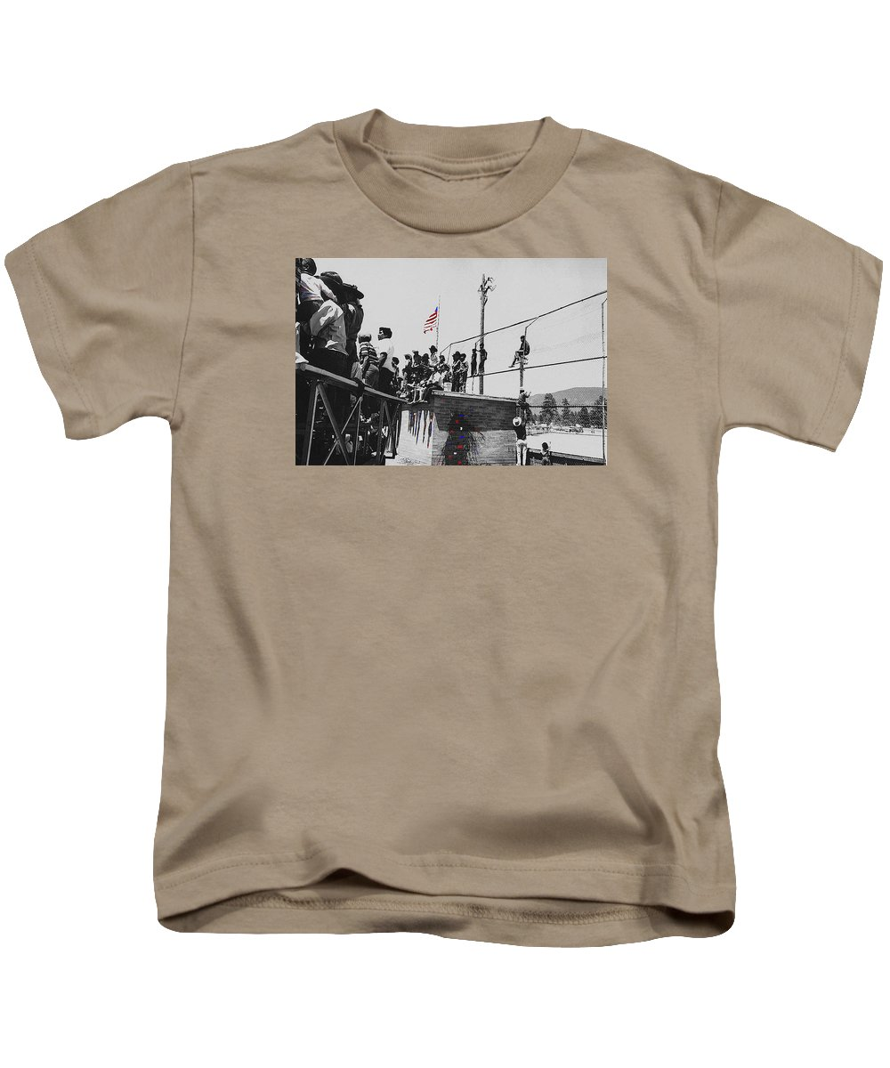 Pow Wow Days July 4th Rodeo Navajos Flagstaff Arizona 1969-2009 Kids T-Shirt featuring the photograph Pow Wow Days July 4th Rodeo Navajos Flagstaff Arizona 1969-2009 by David Lee Guss