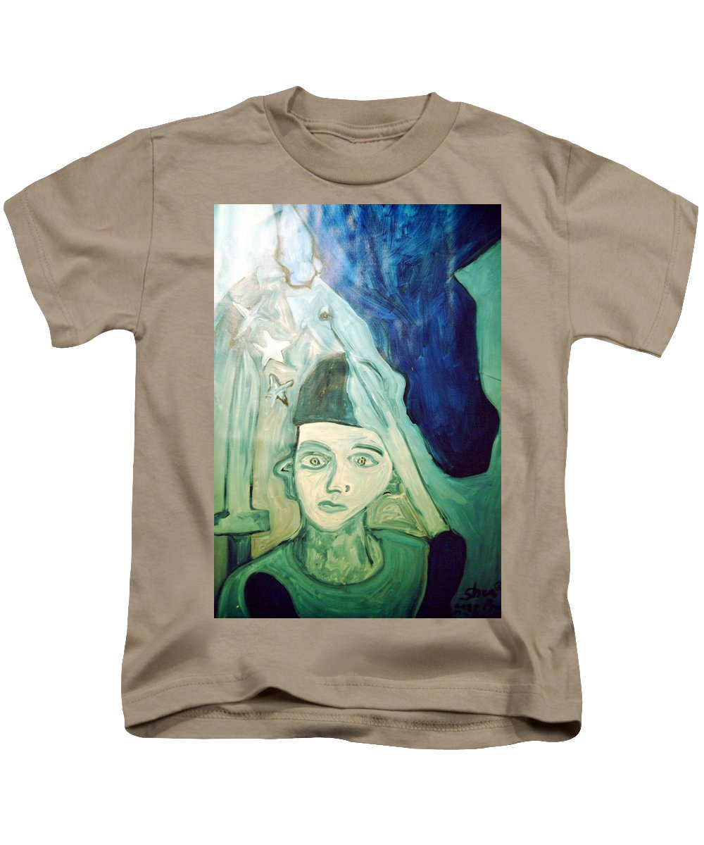 Blue Kids T-Shirt featuring the painting Protector Of The Great Land by Shea Holliman