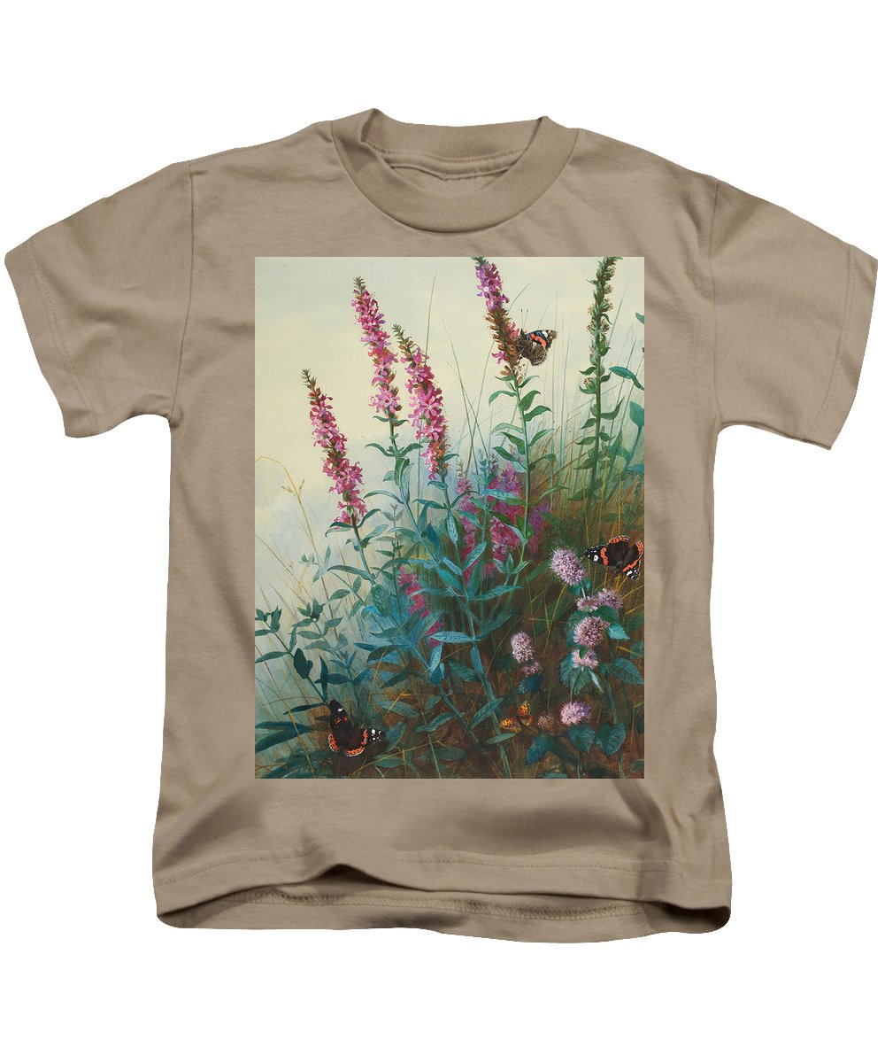Archibald Thorburn Kids T-Shirt featuring the painting Purple Loosestrife And Watermind by Archibald Thorburn