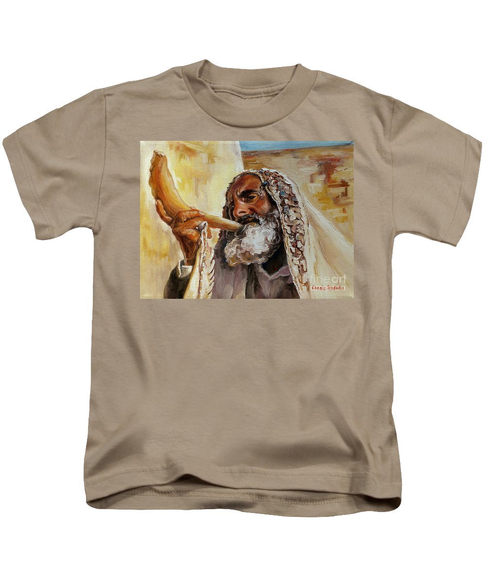 Rabbi Kids T-Shirt featuring the painting Rabbi Blowing Shofar by Carole Spandau