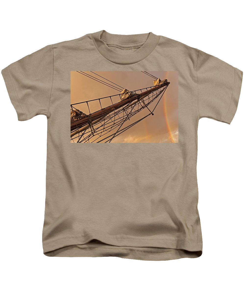 Rainbow Kids T-Shirt featuring the photograph Tall Ship Meets Rainbow by Mike Santis