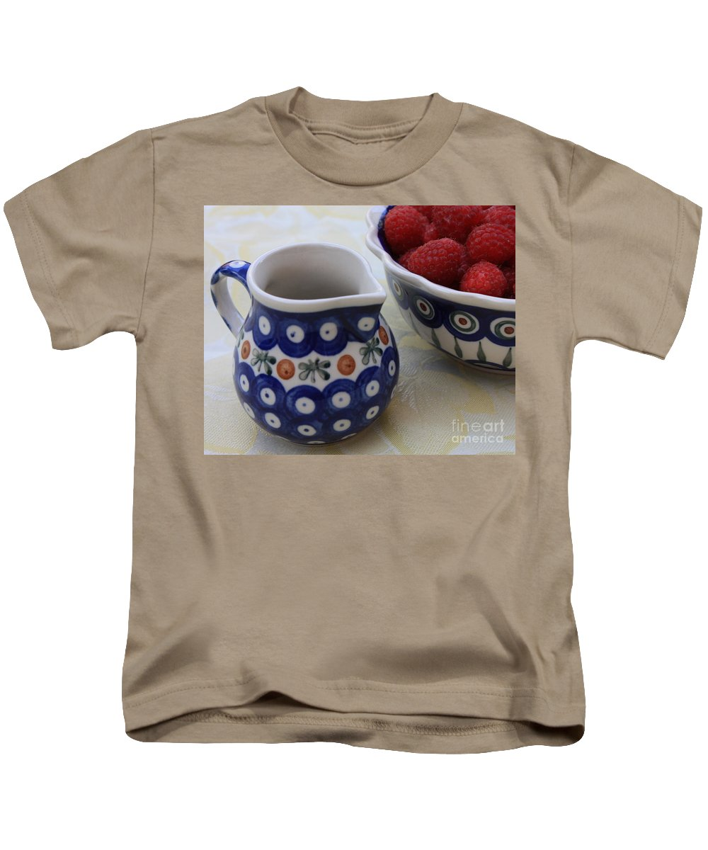 Raspberries Kids T-Shirt featuring the photograph Raspberries With Cream by Carol Groenen