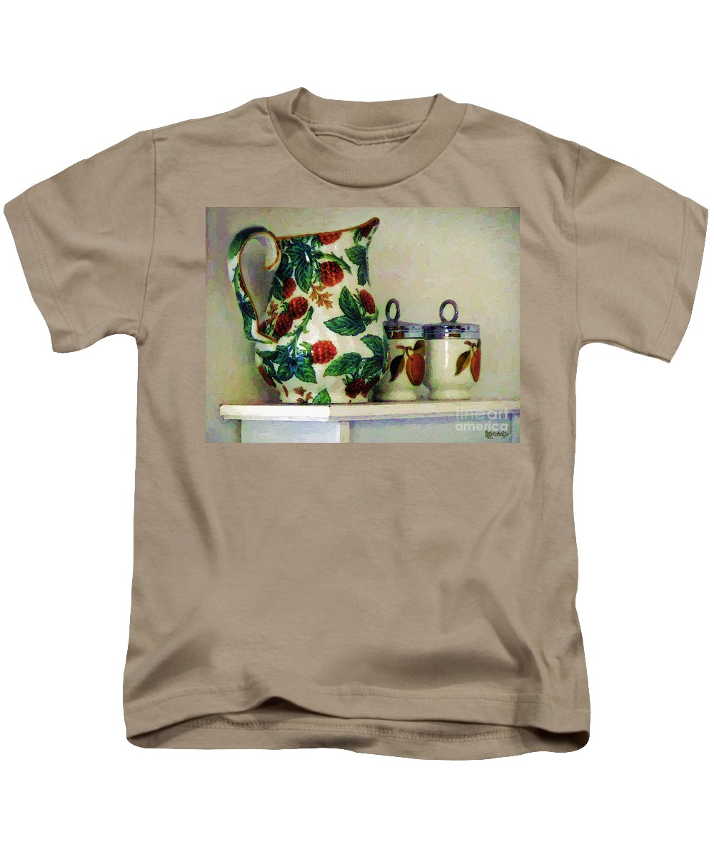 Pitcher Kids T-Shirt featuring the painting Raspberry Pitcher by RC DeWinter