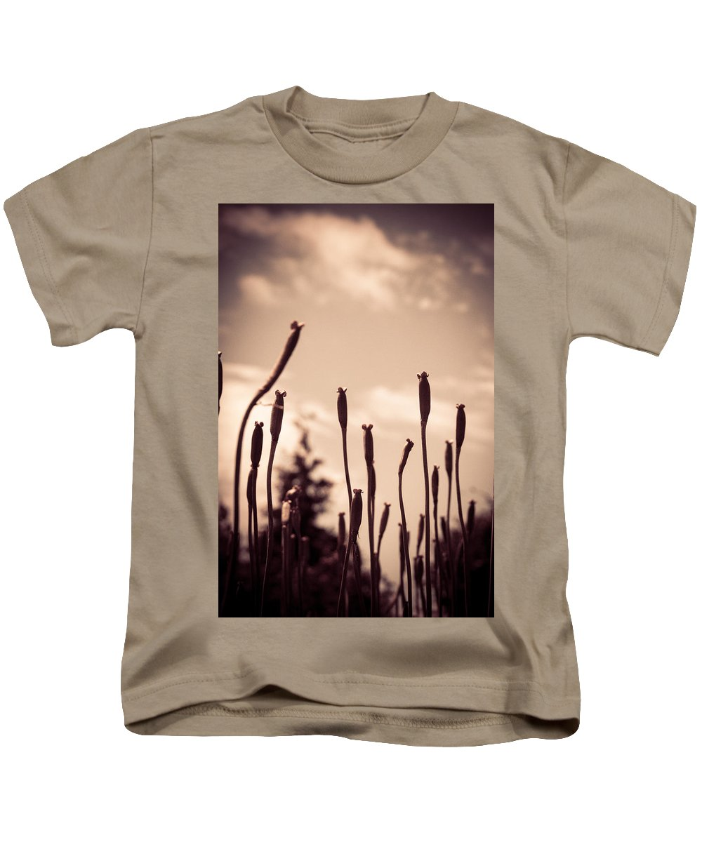 Buds Kids T-Shirt featuring the photograph Flowers Reaching For The Sky by Brian Caldwell