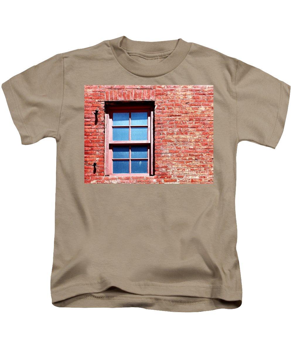 Masonry Kids T-Shirt featuring the photograph Red Brick Window by Henrik Lehnerer