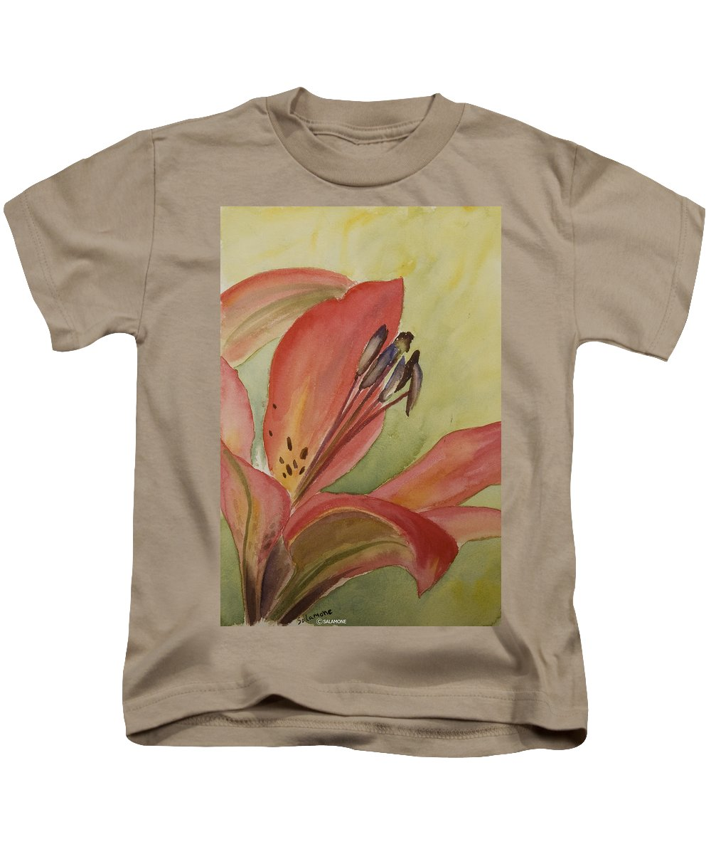 Lily Red Flower Watercolor Macro Kids T-Shirt featuring the painting Red Lily by Brenda Salamone