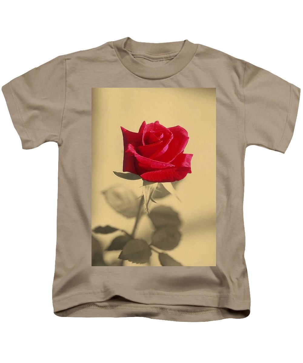 Rose Kids T-Shirt featuring the photograph Red Rose Flower Isolated On Sepia Background by Taiche Acrylic Art