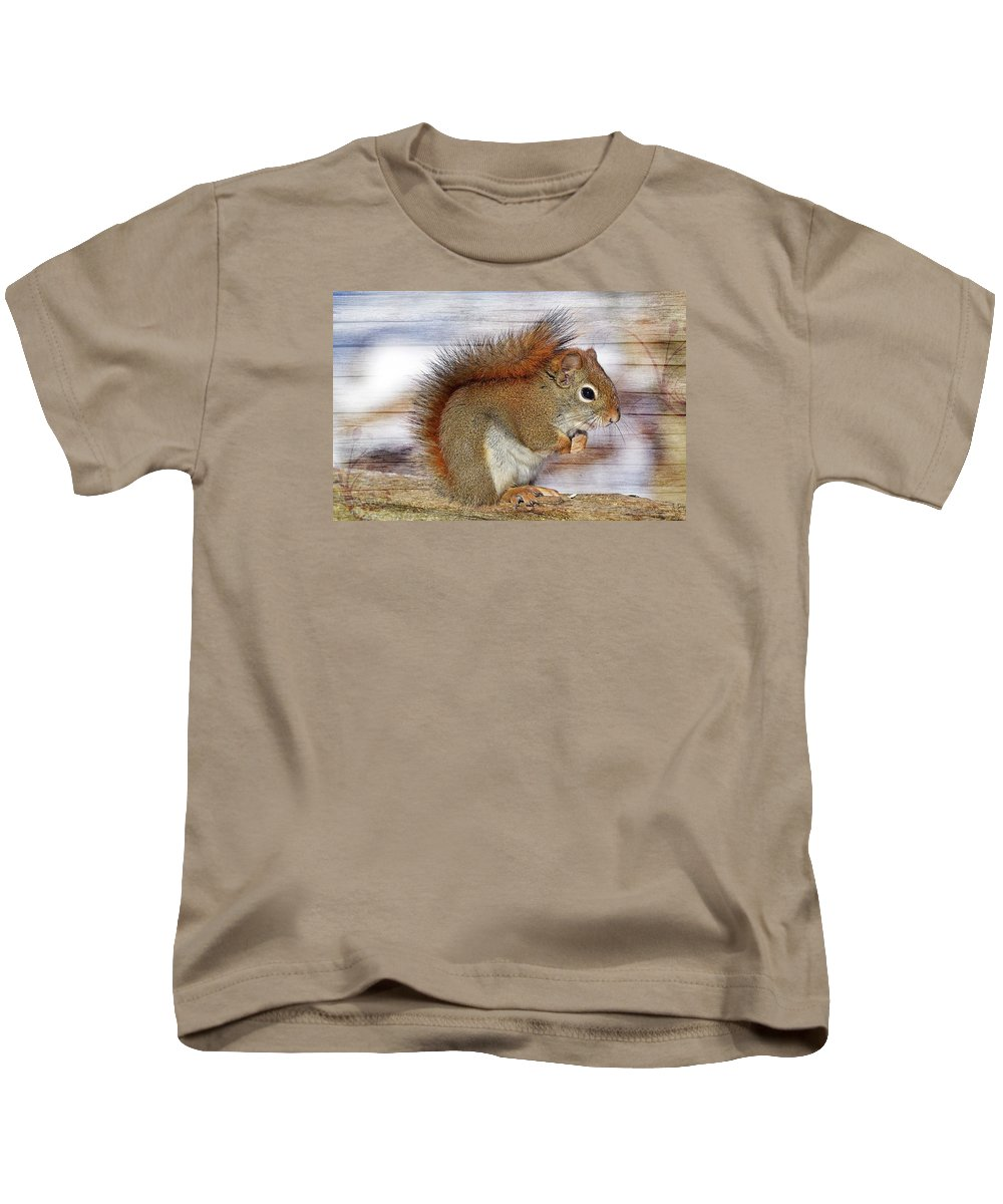Squirrel Kids T-Shirt featuring the photograph Red Squirrel by FL collection