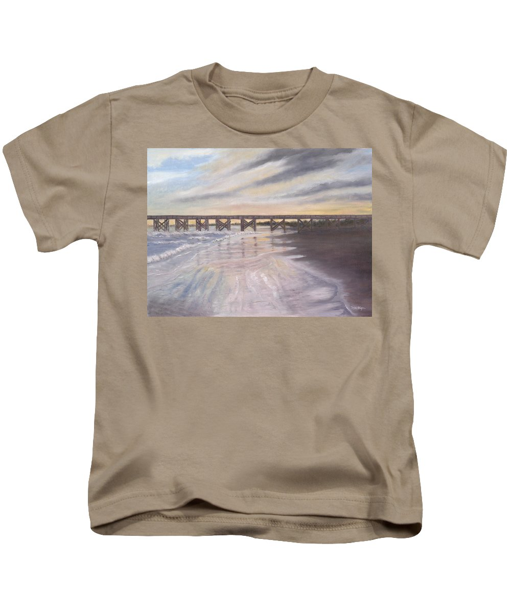 Beach; Pier; Low Country Kids T-Shirt featuring the painting Reflections by Ben Kiger