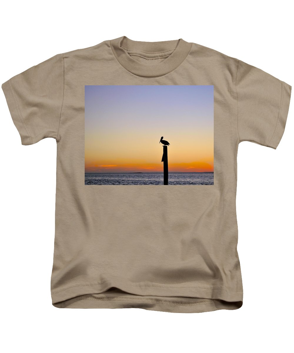 Pelican Kids T-Shirt featuring the photograph Pelican Fishing At Sunset II by Kristina Deane