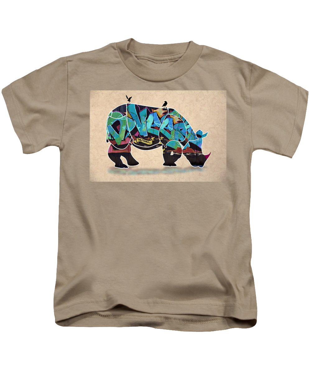 Rhino Kids T-Shirt featuring the digital art Rhino 2 by Mark Ashkenazi