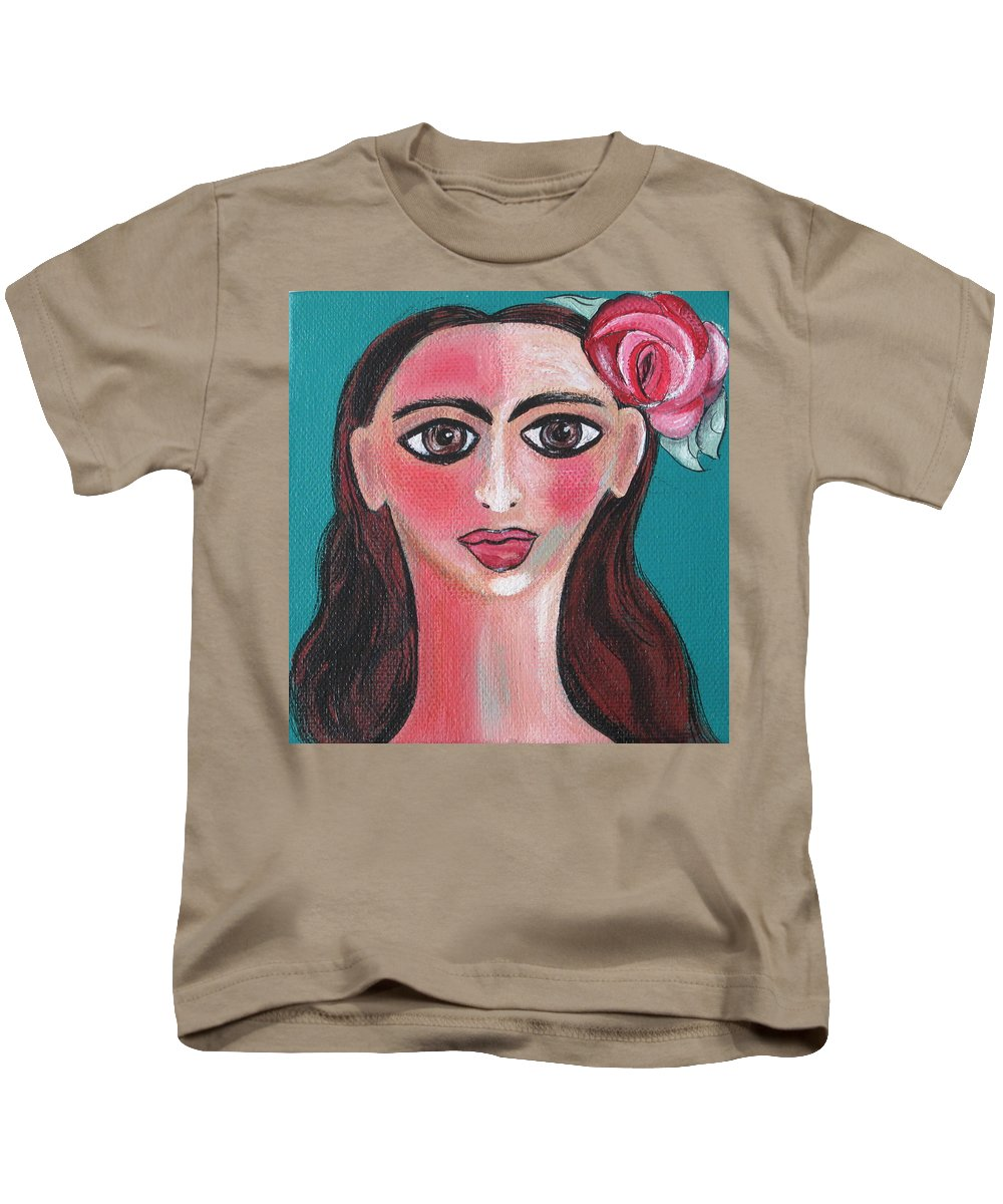 Canvas Kids T-Shirt featuring the painting Rosa by Sue Wright