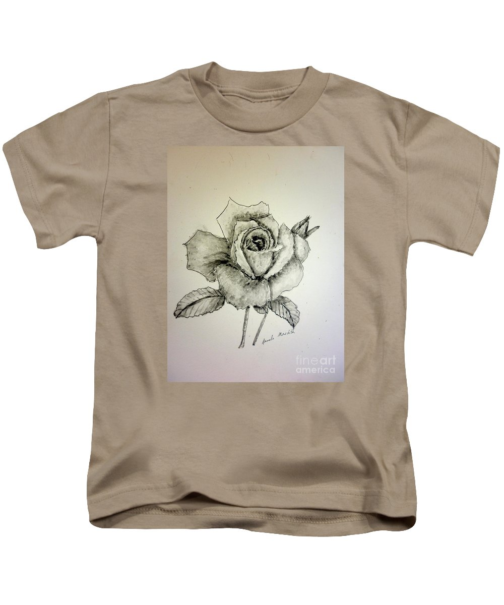 Rose Kids T-Shirt featuring the painting Rose In Monotone by Pamela Meredith