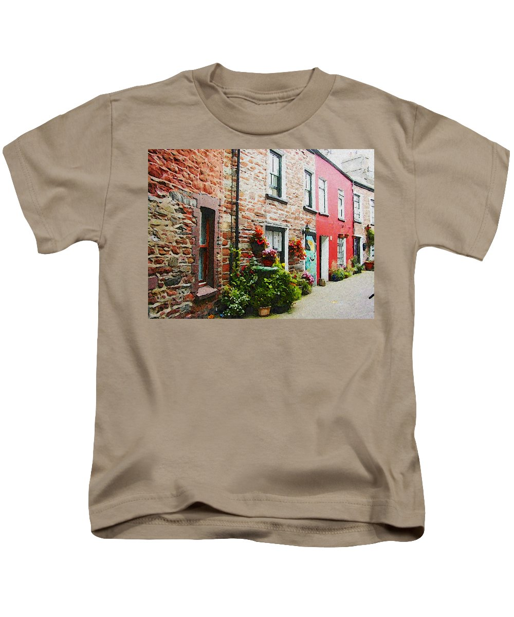 Expresssive Kids T-Shirt featuring the photograph Row With Flowers by Lenore Senior