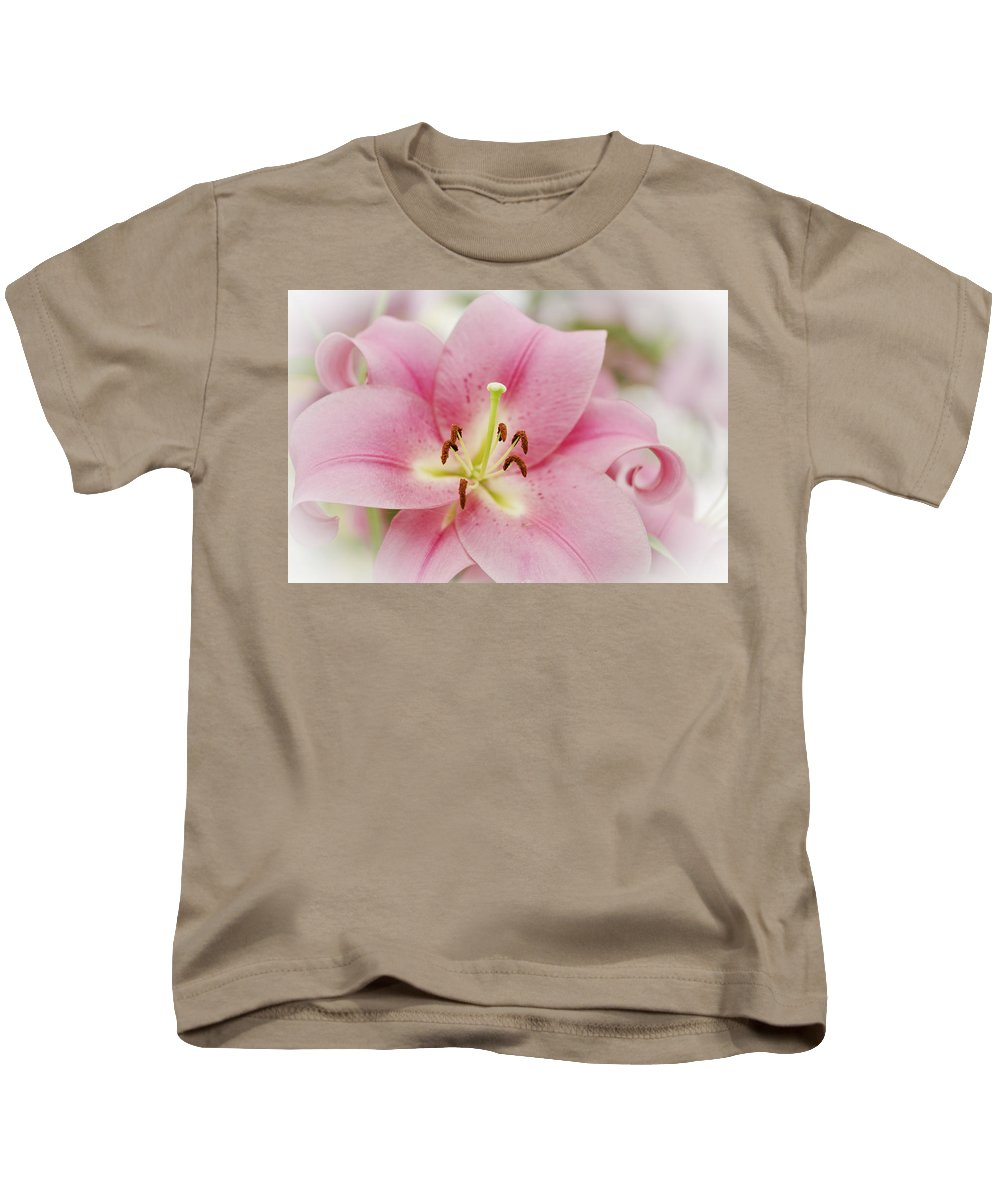 Lily Kids T-Shirt featuring the photograph Pink Lily by Maj Seda