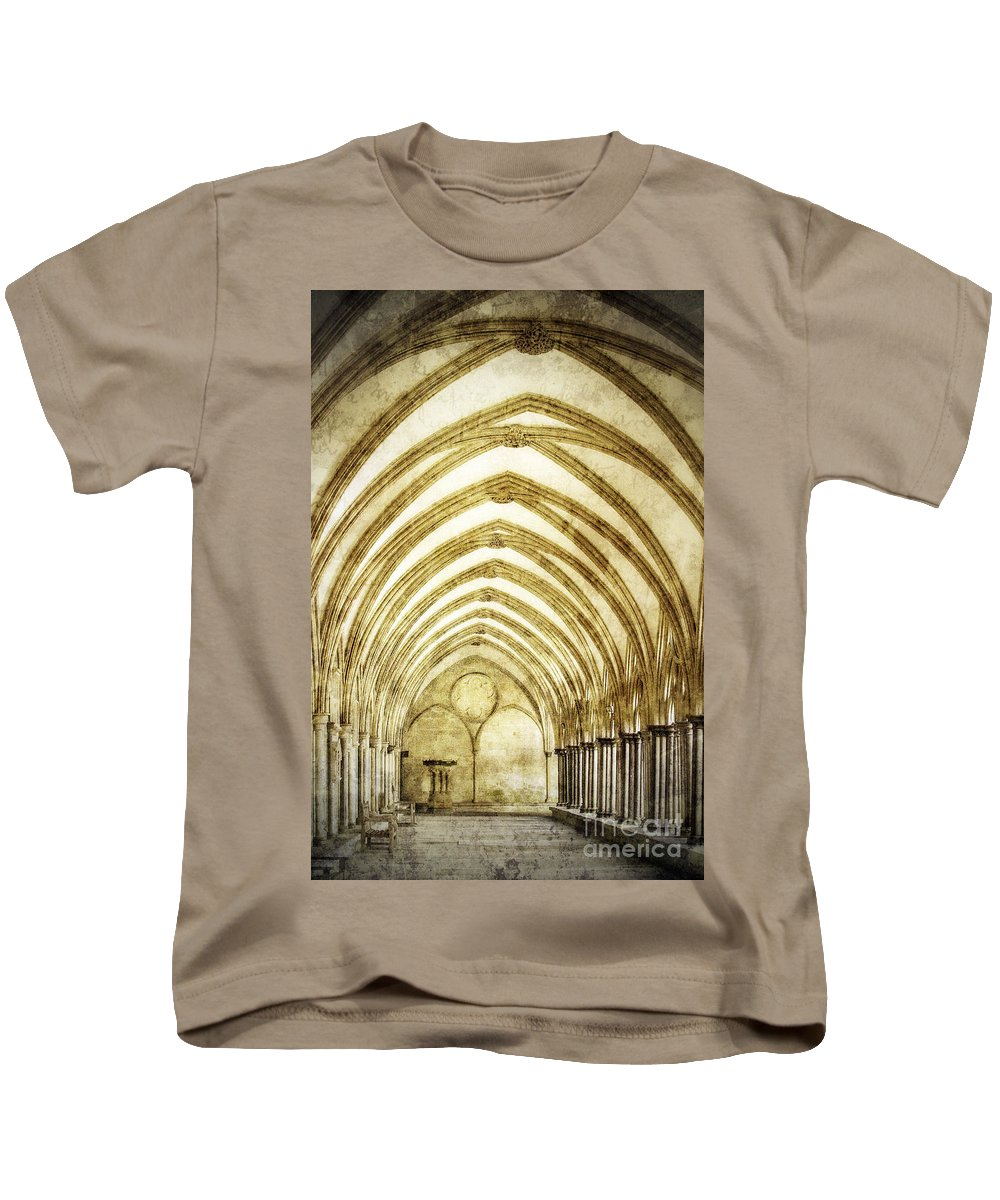 Architecture Kids T-Shirt featuring the photograph Salisbury Cathedral Cloisters 2 by Linsey Williams